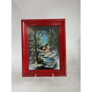 Winter Woods Scene Paint By Number Painting Framed
